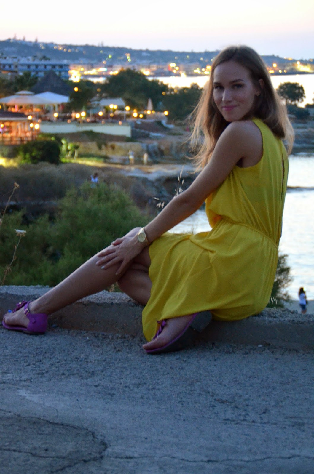 hersonissos crete night yellow tfnc dress