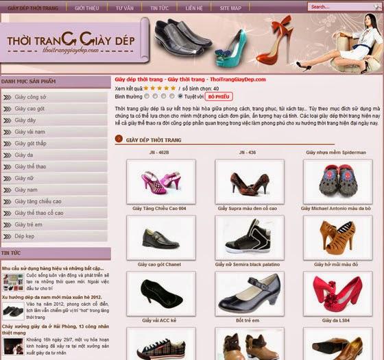 thiết kế web bán hàng giầy thể thao giá rẻ