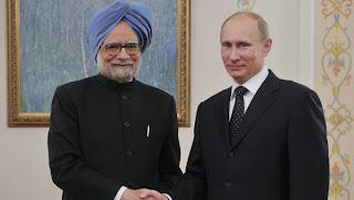Vladimir Putin with Manmohan Singh