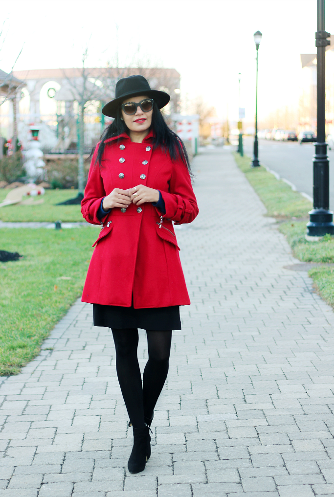Red Military Coat, H&M Wool Fedora Hat, Red Wool Coat