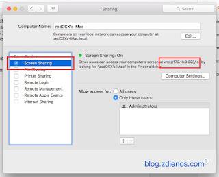 Mengakses Mac OS X melalui Screen Sharing - Screen Sharing Window