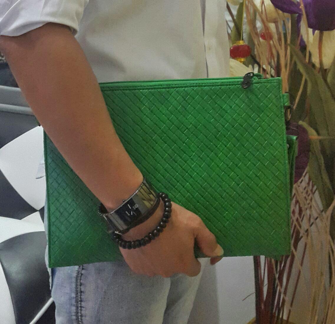 jual online clutch bag motif sulam warna hijau metalik terbaru