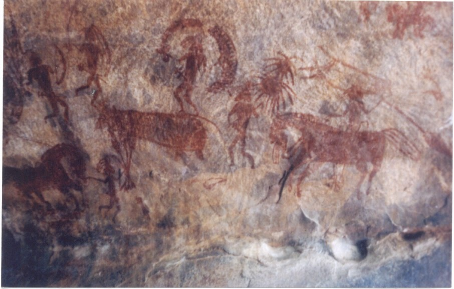 Bhimbetka rock painting showing man riding on horse.