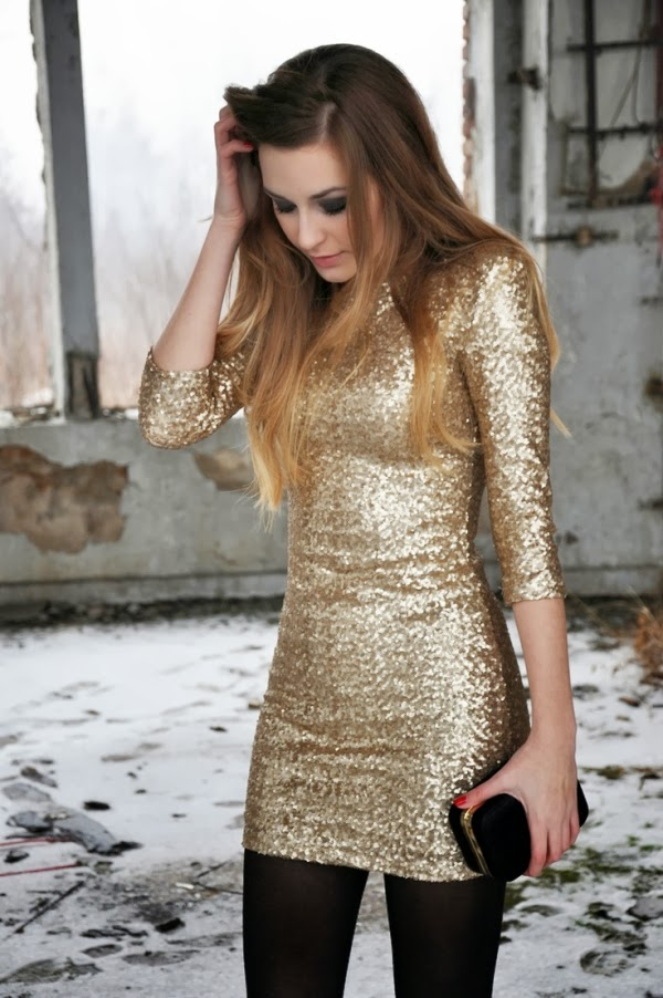 Gold Dress with the Black Tights for a Cold New Years Outfit, Suitable Black Handbag
