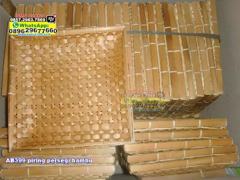 piring persegi bambu unik