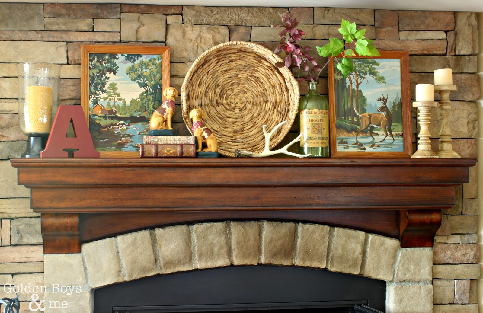 Mantel decor on stone fireplace in family room-part of fall decor-www.goldenboysandme.com