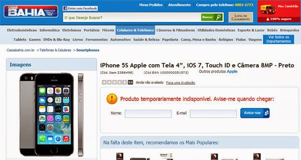 iPhone 5s nas Casas Bahia