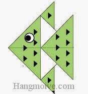 Bước 15: Vẽ mắt, vây để hoàn thành cách xếp con cá cảnh nhiệt đới bằng giấy theo phong cách origami.