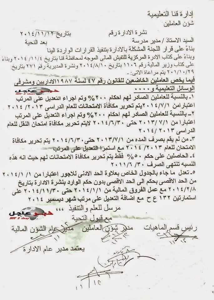 حصرى نشرة لجميع الادارات والمدارس لصرف حافز 200 % صادر فى 12 / 11 / 2014 بمحافظة قنا