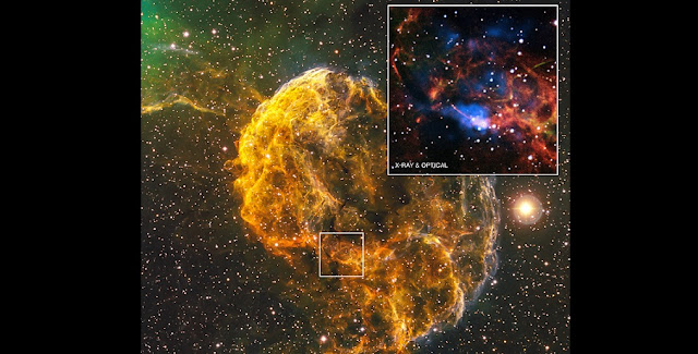 "A supernova remnant nicknamed the ""Jellyfish Nebula"" located about 5,000 light years from Earth. Credit: Wide Field Optical: Focal Pointe Observatory/B.Franke, Inset: X-ray: NASA/CXC/MSFC/D.Swartz et al, Inset: Optical: DSS, SARA"