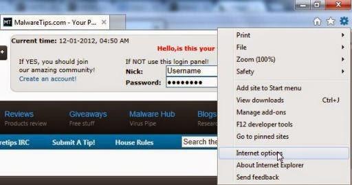 tombol untuk akses add on pada IE