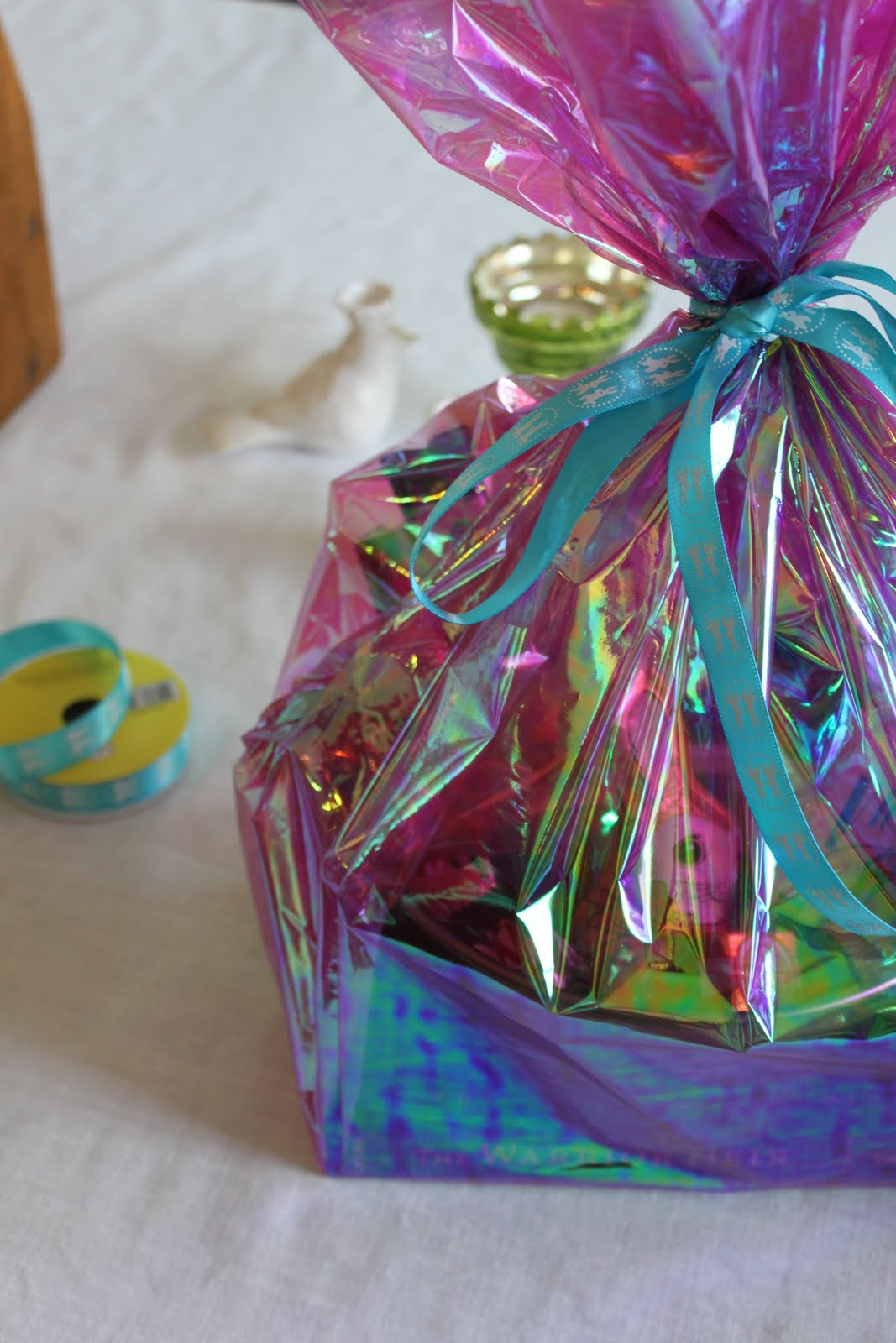 Easter basket ease happenstance home cellophane wrap in various colors and a nice new ribbon finish the baskets off negle Choice Image