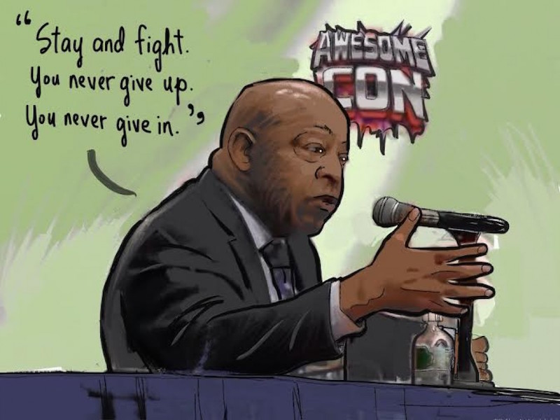 "Civil Rights icon Rep. John Lewis by Michael Cavna. ""REP. JOHN LEWIS's words can roll low and slow, like a rumble of rhythm, until the volcanic rhetoric starts to burble and blow. Then, in an emotional spitfire of syllables, his words rise as if scaling a mountaintop path."""