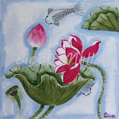 Lotus Acrylic Paintings