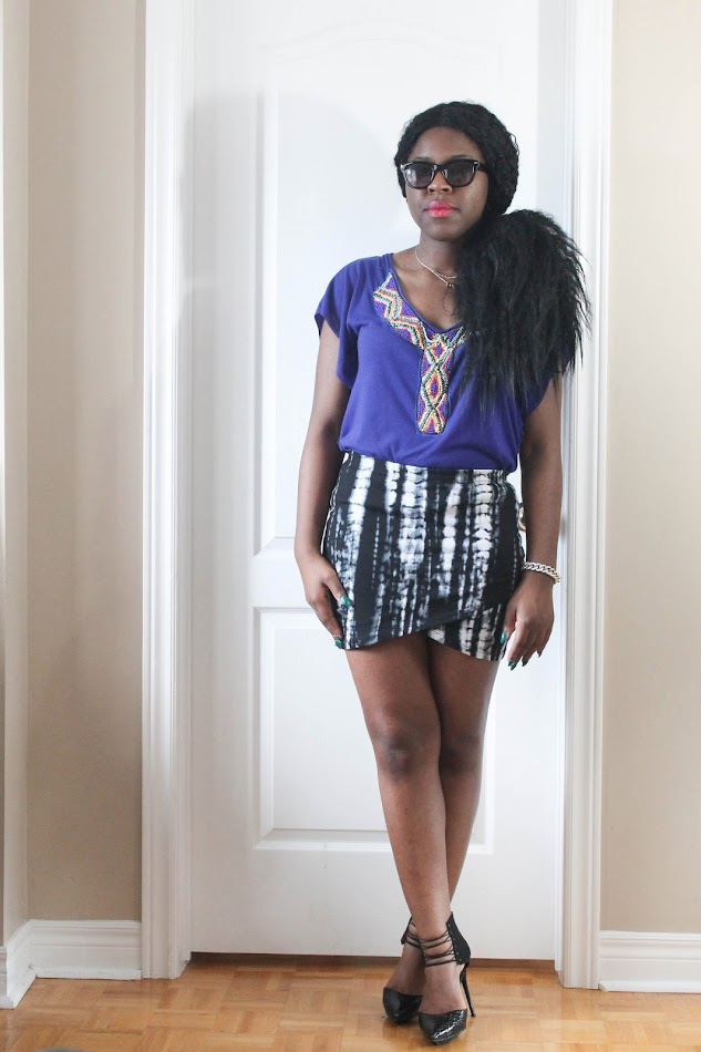 canadian fashion blogger, african american fashion blogger, tie dye skirt, fab candy clothing, shoedazzle