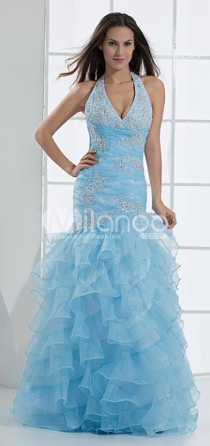 Belle Halter Paillette volants en satin tulle robe de bal
