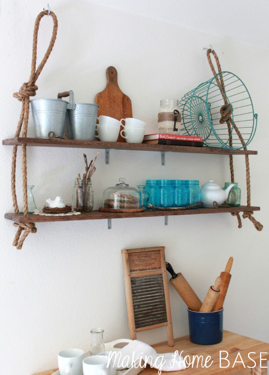 Rustically cool rope wall shelving, by Making Home Base, featured on I Love That Junk