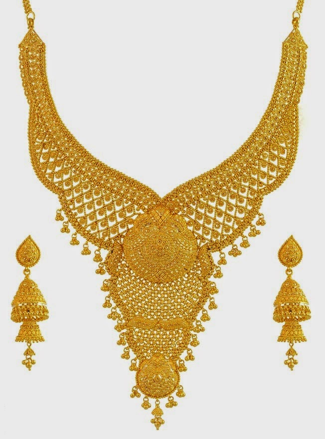 22k Gold Hand Crafted Bridal Necklace Set With Ear Rings