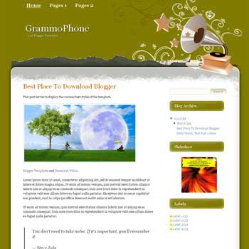 GrammoPhone Blogger Template. blogger template from wordpress theme. music blogger template
