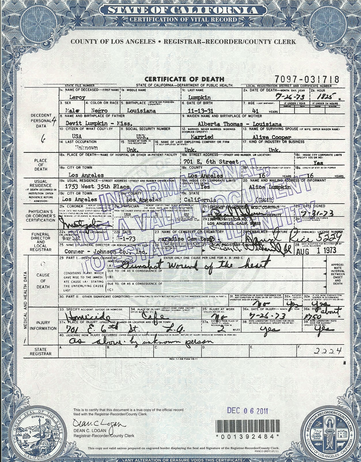 Fes sankofa quest leroy lumpkin death certificate xflitez Gallery