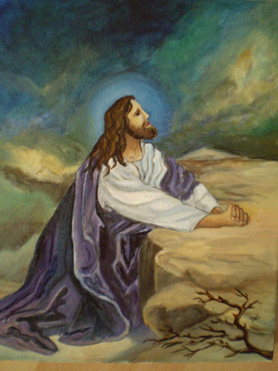 JESUS PRAYING IN THE GHETSIMANI GARDEN oil on canvas, signed joli, 9,5/12in