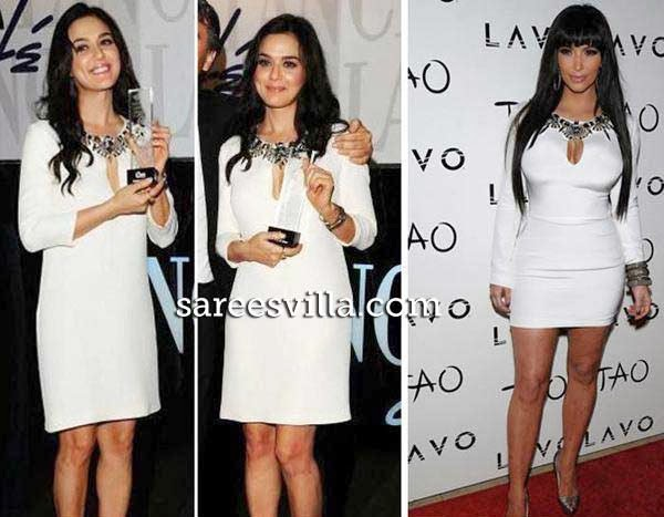 Kim Kardashian and Preity Zinta in similar dress