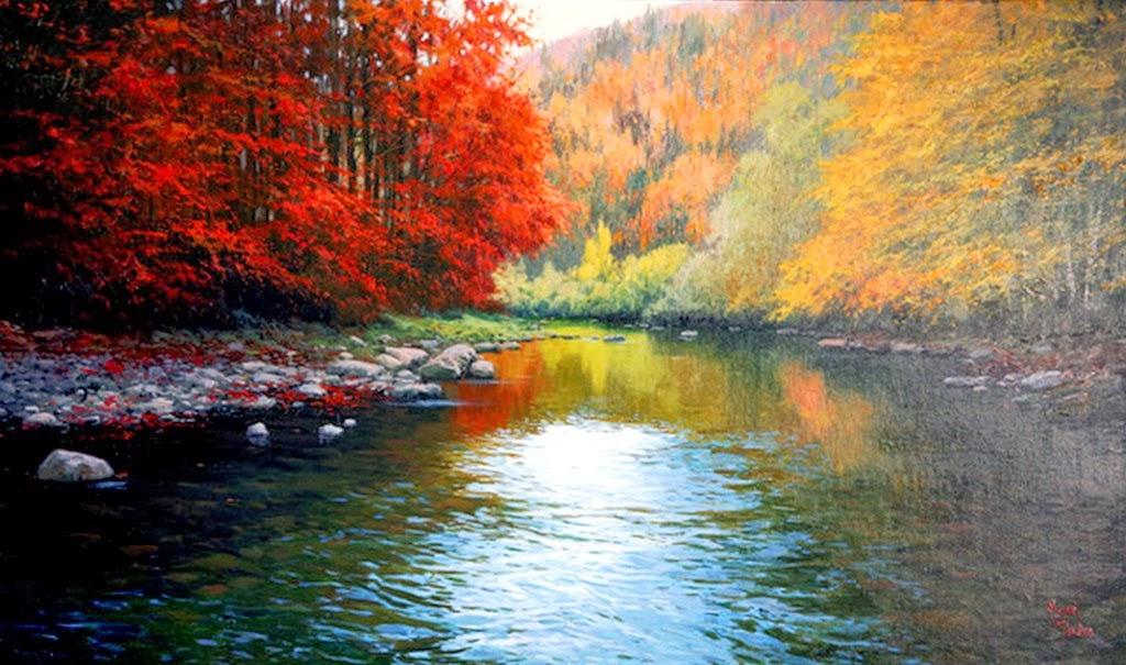 Im genes arte pinturas paisajes con r os pinturas - Lienzos decorativos ...