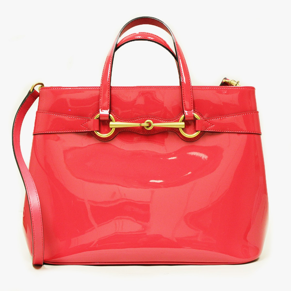 Gucci 319795 Horsebit Convertible Pink Patent Leather Large Tote Bag 319795