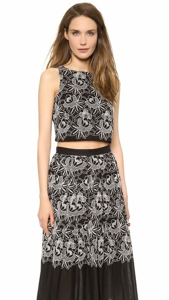 tibi embroidered eyelet crop top and maxi