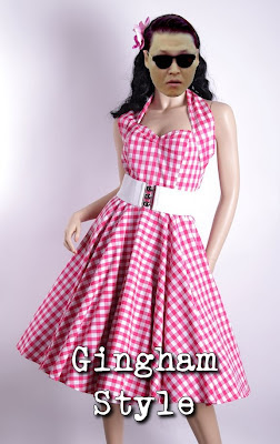 Psy's face on a model in a pink gingham dress