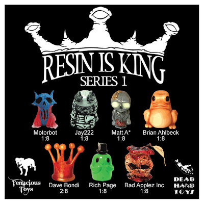 Resin is King Blind Box Series 1 Checklist and Ratios - Motorbot, Jay222, Matt A, Brian Ahlbeck (of Dead Hand Toys), Dave Bondi, Rich Page (of Ume Toys), and Bad Applez Inc (NEMO and OsirisOrion)