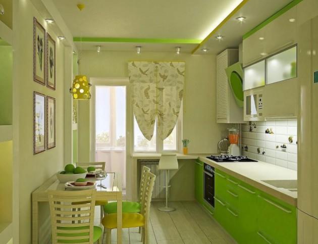 Фото кухни в салатовом тоне