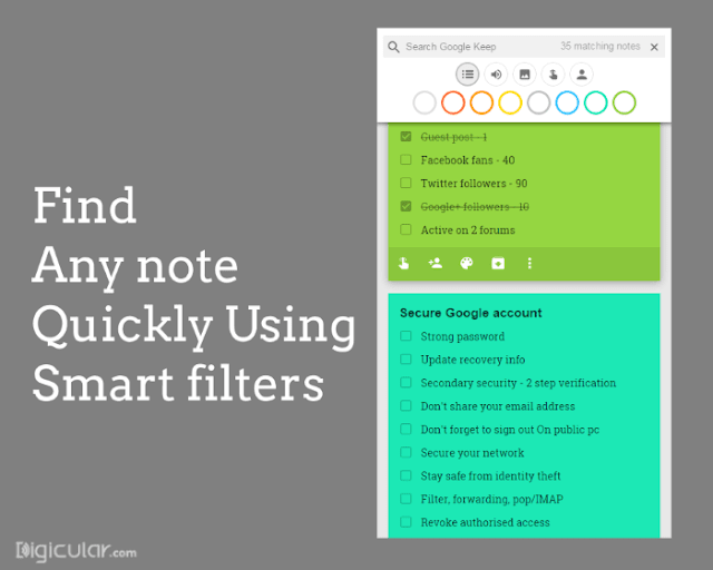 Smart filters - Google keep