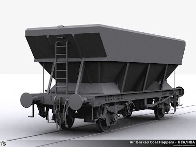 Fastline Simulation - HBA Hopper: Render of the completed HBA hopper shape for RailWorks Train Simulator 2012 before export and release for shape test. This configuration shows one of the early examples of HBA coal hopper with a central ladder, additional handrails and small extra supports to the hopper.