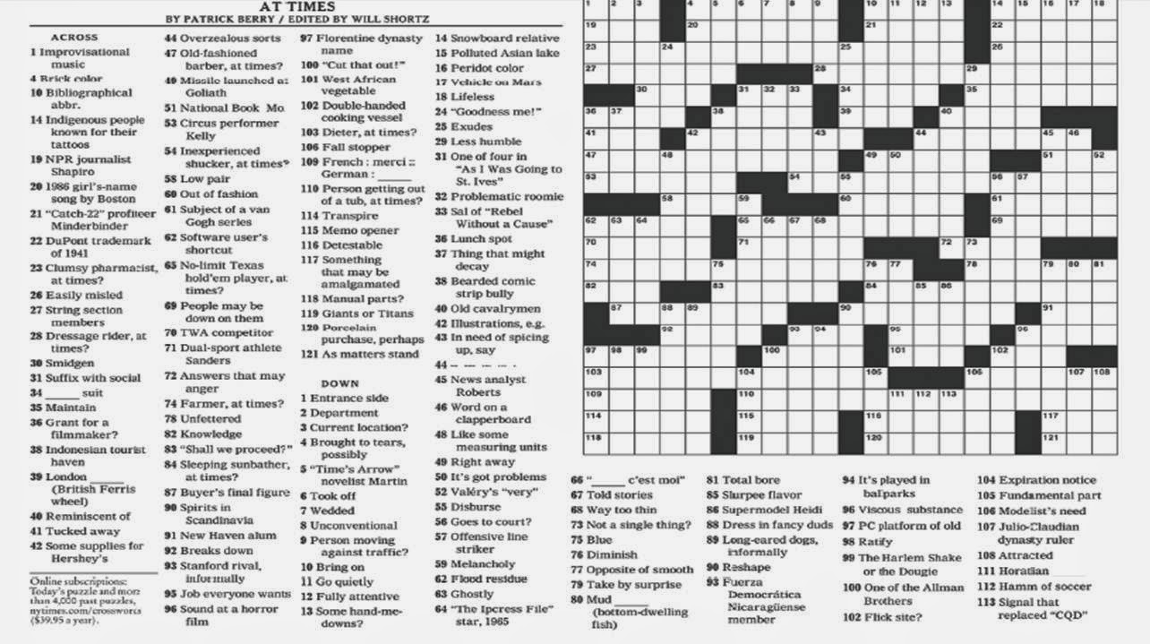 This is a graphic of Comprehensive Printable New York Times Crossword