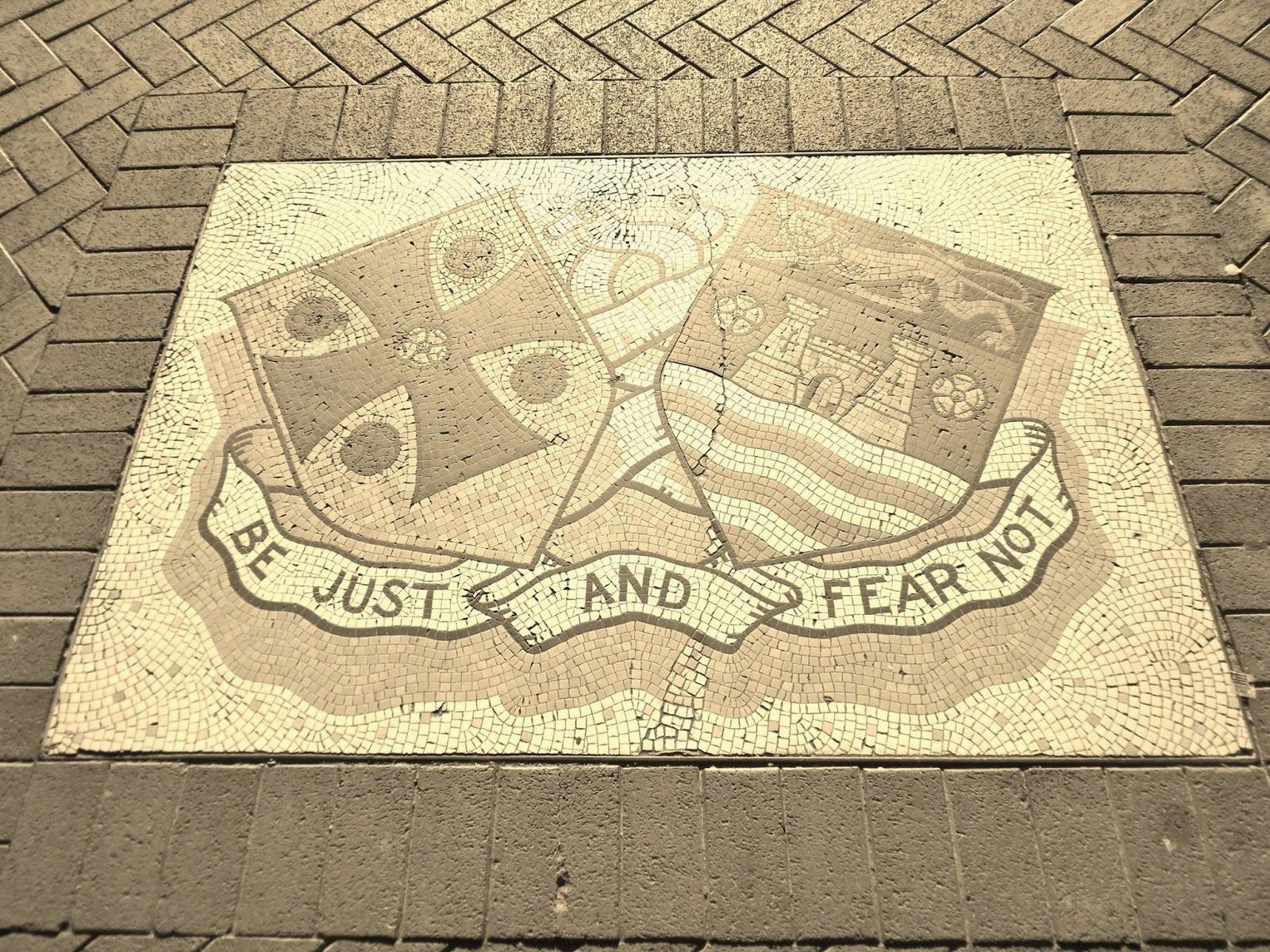Carlisle Motto: outside Tullie House Museum & Art Gallery