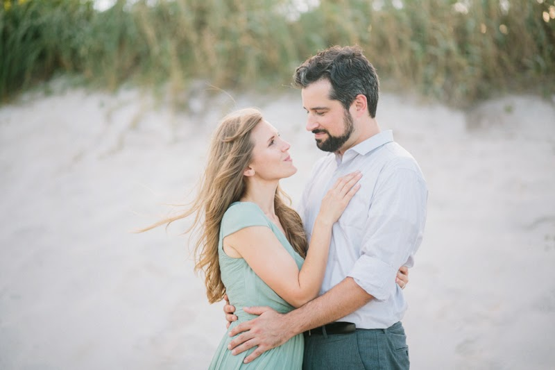 coral cove beach engagement photo