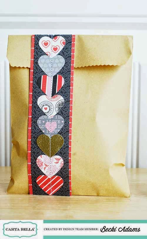 Easy Valentines Treat Bags created by @jbckadams #ValentinesDay #ValentinesDaytreatbag #Cartabella #Papercrafting