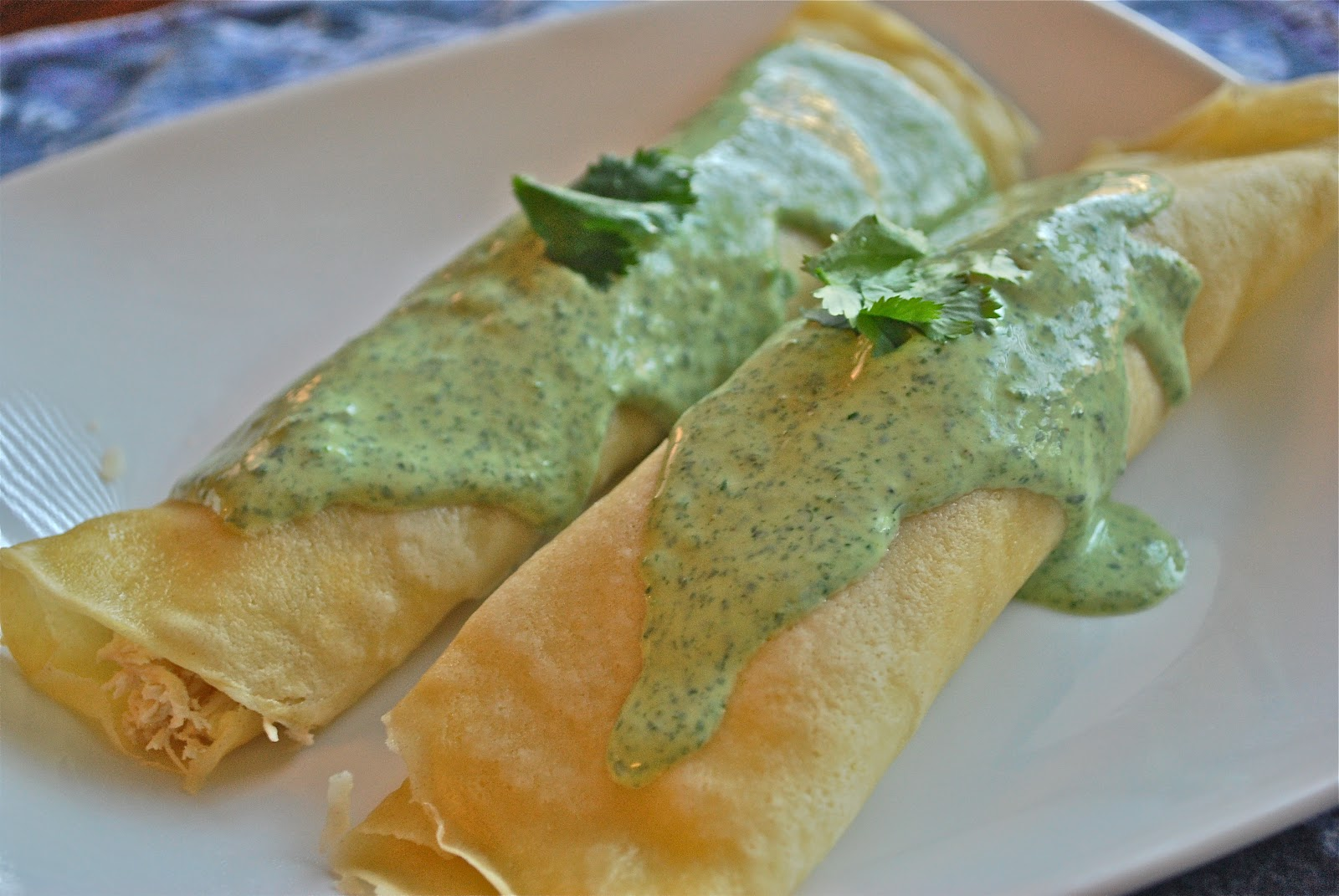 Wise Cook: Chicken Crepes with Cilantro Cream Sauce