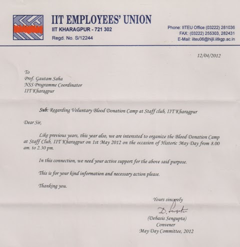 Request Letter For Blood Donation Camp