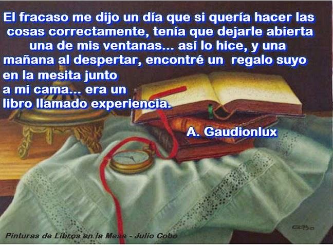 Imagen artística de Julio Cobo, Punturas de Libros en la Mesa, con frase.