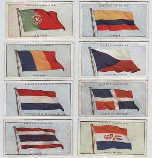 Cigarette cards from the Flags of the League of Nations series, c.1928