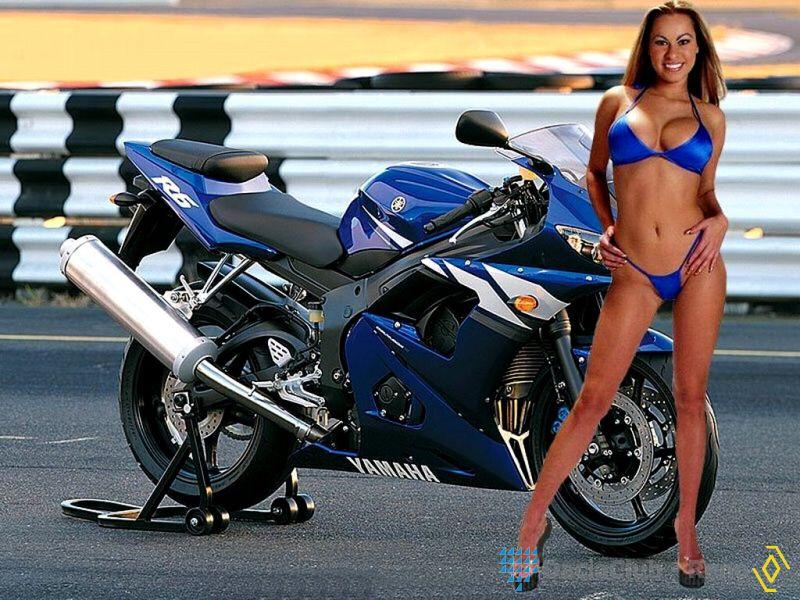 Moto Nude: Yamaha Motorcycle R6 Superbike Bikini Girl Biker