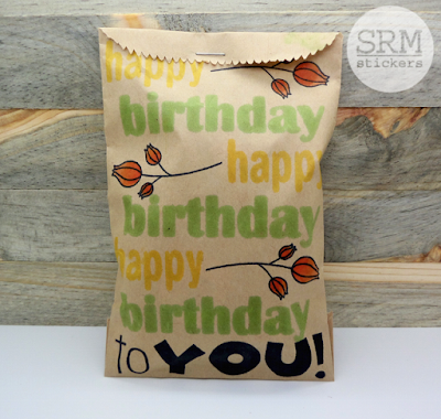 SRM Stickers Blog - Stamped Birthday Bag by Annette - #birthday #kraftbag #BIGstamps #BIGbirthday #janesdoodles #fancydoodles #giftbag