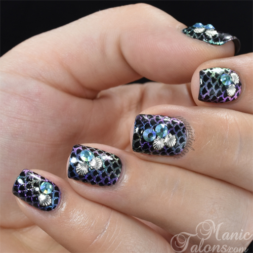 Mermaid Nails with BMC Stardust Pigments and Lily Anna Stamping