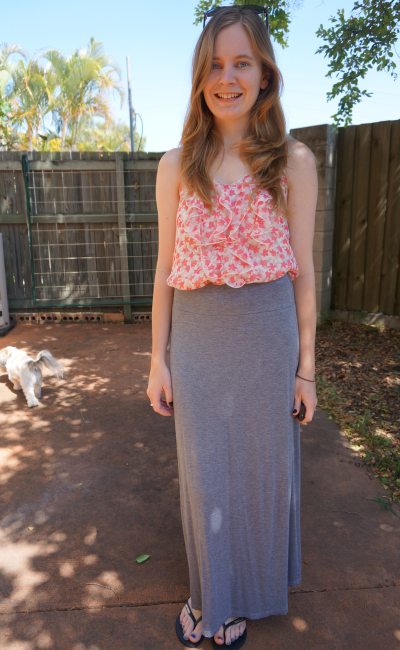 Floral printed ruffle cami top grey marle target jersey maxi skirt outfit