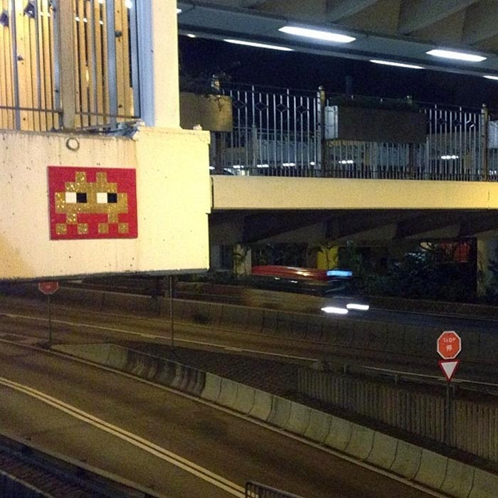 French Street Artist Space Invader Invades Hong-Kong at night with his iconic mosaic pieces. 12