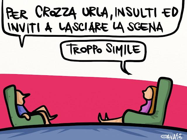 sanremo gavavenezia gava satira vignette caricature battuta crozza Berlusconi poltrone imitazione scena
