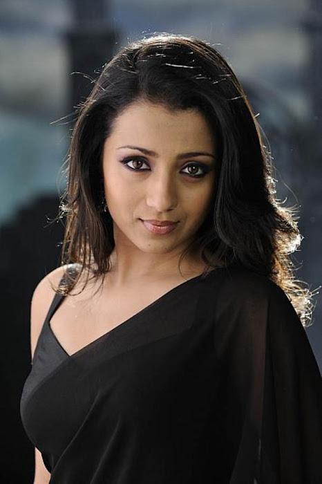 trisha in guard movie black saree , cute stills