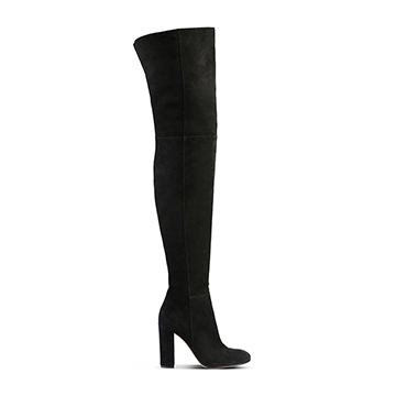 Gianvito Rossi blacck suede over the knee boots with block heel